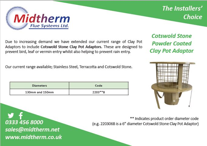 Midtherm Flue Systems Cotswold Stone Powder Coated Clay Pot Adaptor