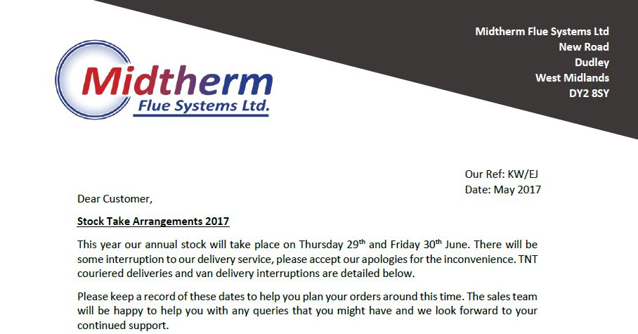 Midtherm Flue Systems Annual Stock Take